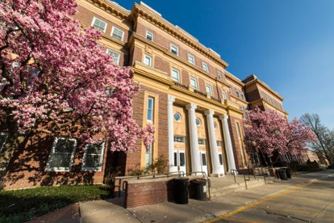 Russ Hall Exterior Spring Cherry Blossom Tree Pillars